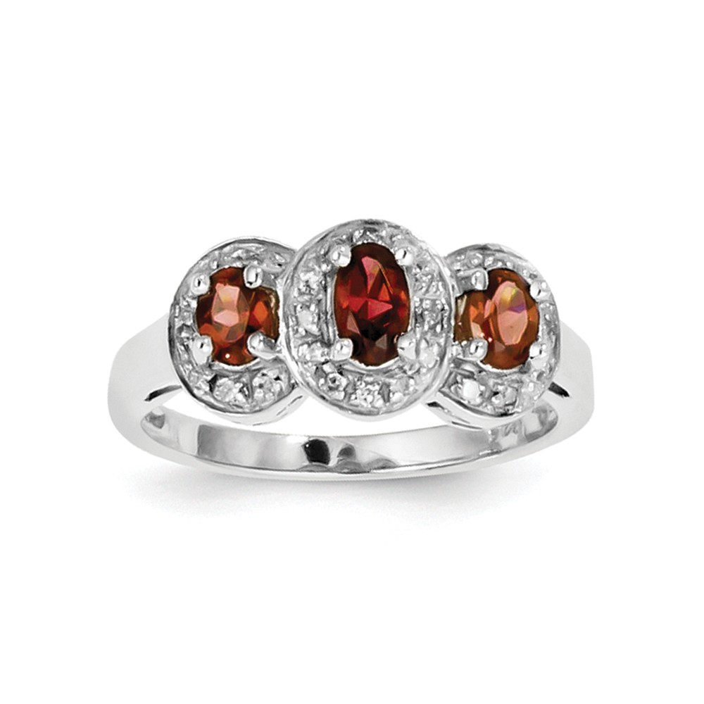 925 Sterling Silver (0.08cttw) Rhodium-Plated Garnet and Diamond Ring by