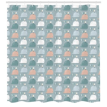 Whale Shower Curtain Colorful Sea Mammals Giant Fish Swimming In The Ocean With Seagulls Cartoon