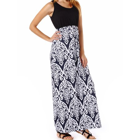 Women's Summer Scoop Crew Neck Long Maxi Dress Dress Flare Sleeveless Patchwork Casual Flowy Loose Empire Floral Beach A-line Tank Vest Dress for $<!---->