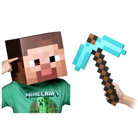 Minecraft Steve Head & Diamond Pickaxe Costume Set](Minecraft Steve Head Costume)
