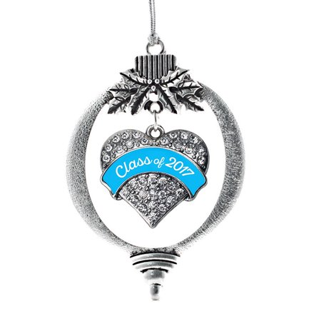 Blue Class Of 2017 Pave Heart Holiday Ornament