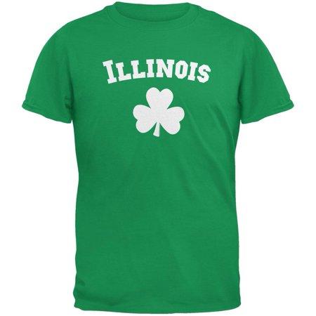 St. Patrick's Day - Illinois Shamrock Irish Green Adult T-Shirt - Shamrock Skirt