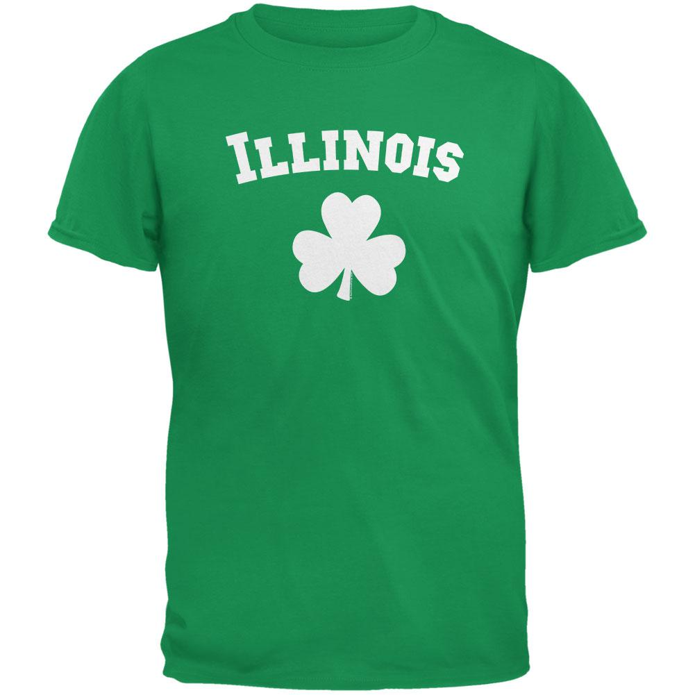 St. Patrick's Day - Illinois Shamrock Irish Green Adult T-Shirt