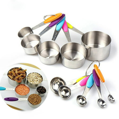 Pewter Measuring Cups Spoons - 10PCS Portable Stainless Steel Measure Spoons Baking Cooking Scoop Cup Set with Silicon Handles For Easy Grip To Measure Dry Rations And Liquids Kitchen Measuring Tools DIY