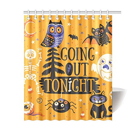Mkhert Cute Cartoon Animals Polyester Fabric Bathroom Shower Curtain