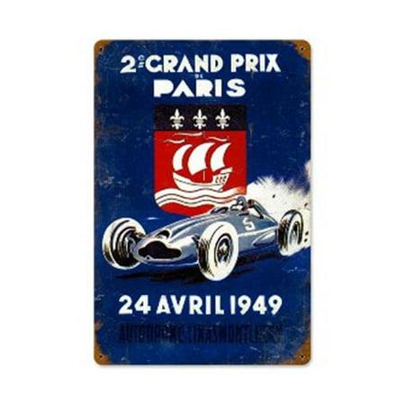 V8 50 Starter - Past Time Signs V850 Grand Prix Paris Automotive Vintage Metal Sign