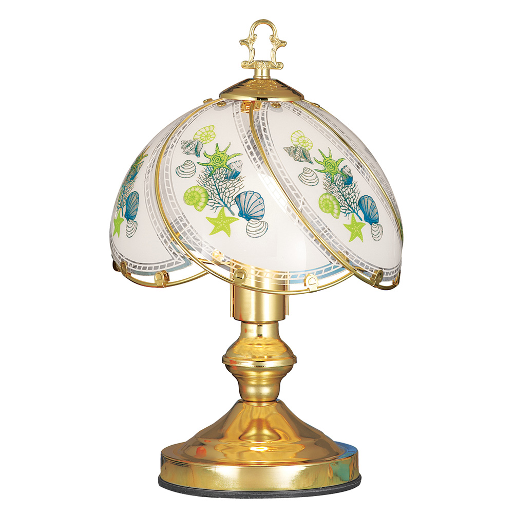 Coastal Seashell Glass Shade 3 Way Touch Lamp For Bedside, Desk, Living Room