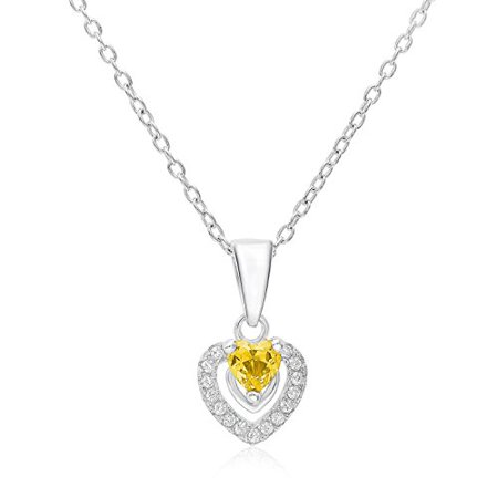 Halo Heart Pendant in Sterling Silver with November Simulated Citrine Birthstone & CZ (16 Inches)