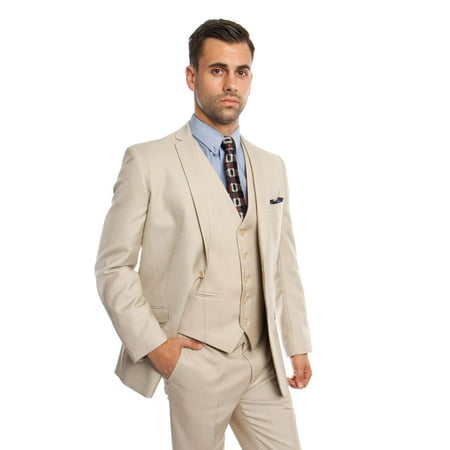Mens Two Piece Textured Solid Tuxedo Suit With Matching Vest & Free Socks 2 Piece Mens Suit