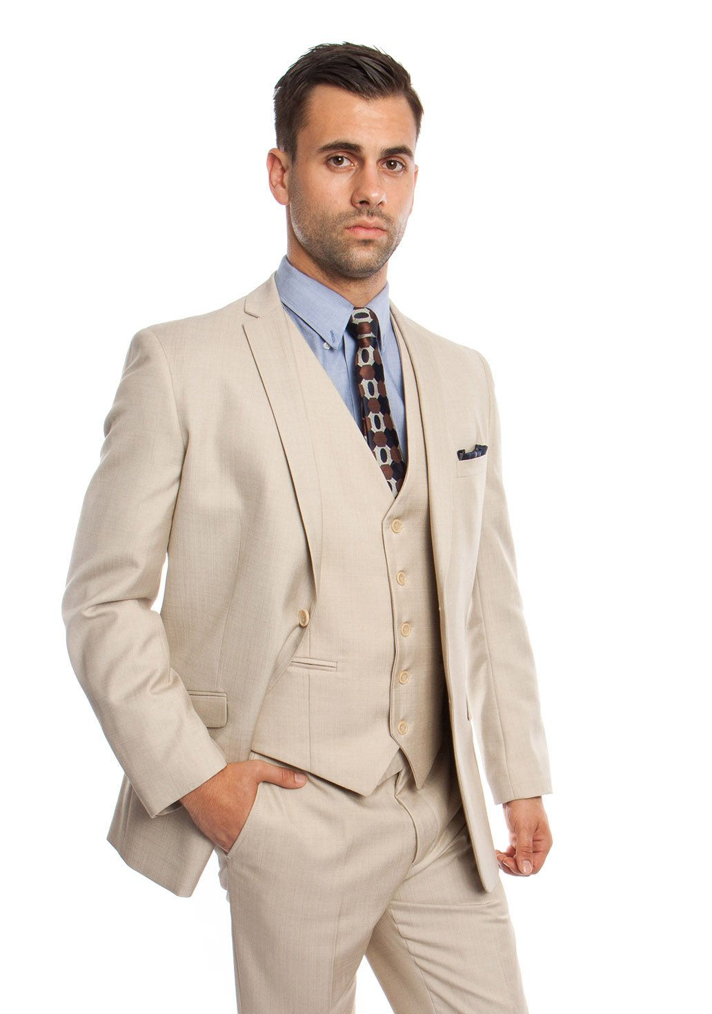 Mens Two Piece Textured Solid Tuxedo Suit With Matching Vest & Free Socks