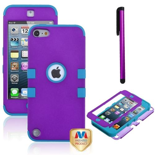 Insten Pen Impact Armor Hybrid Hard Grape/Teal Silicone Case For iPod Touch 6 6G 6th / 5 5G 5th Gen