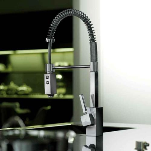 Domino Professional Kitchen Sink Faucet w Two-Spray Hand-Shower (Chrome)