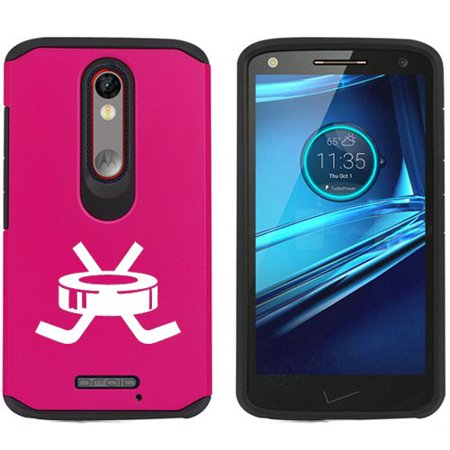 Motorola Droid Turbo 2 Shockproof Impact Hard Soft Case Cover Hockey Puck With Sticks (Fuchsia)