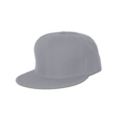 - Plain Fitted Flat Bill Hat - Grey, 7 3/8
