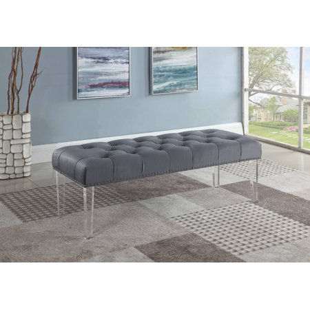 Best Master Furniture Suede Upholstered Tufted Bench with Acrylic Legs,
