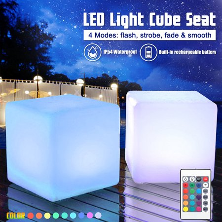 Light Up Cube (8 inch Light Up LED Colour Changing Cube Seat Chair Waterproof)