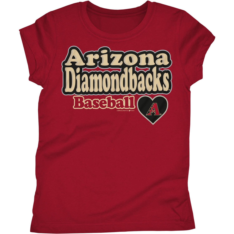 MLB Arizona Diamondbacks Girls Short Sleeve Team Color Graphic Tee