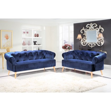 Excellent Us Pride Furniture Ean Chesterfield 2 Piece Velvet Fabric Living Room Set Blue Download Free Architecture Designs Scobabritishbridgeorg