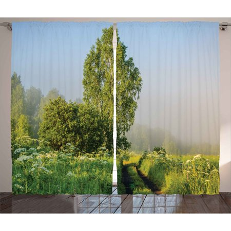 Nature Decor Curtains 2 Panels Set  Beautiful Serenity Trees Track Path Garden Leaves And Grass Sunny Skies Photography  Window Drapes For Living Room Bedroom  108W X 84L Inches  Green  By Ambesonne