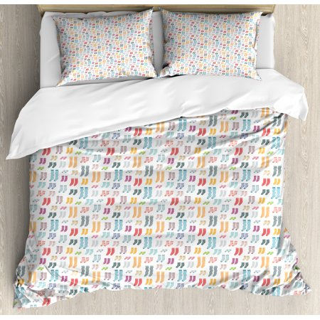 Colorful King Size Duvet Cover Set, Pattern with Long and Short Socks Stripes Dotted Flower Motifs Doodle Stockings, Decorative 3 Piece Bedding Set with 2 Pillow Shams, Multicolor, by Ambesonne