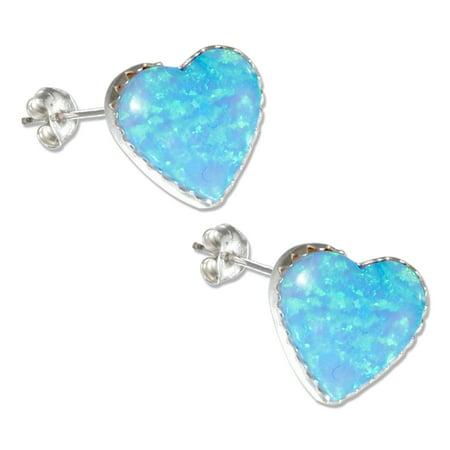 Sterling Silver Synthetic Blue Opal Heart Earrings