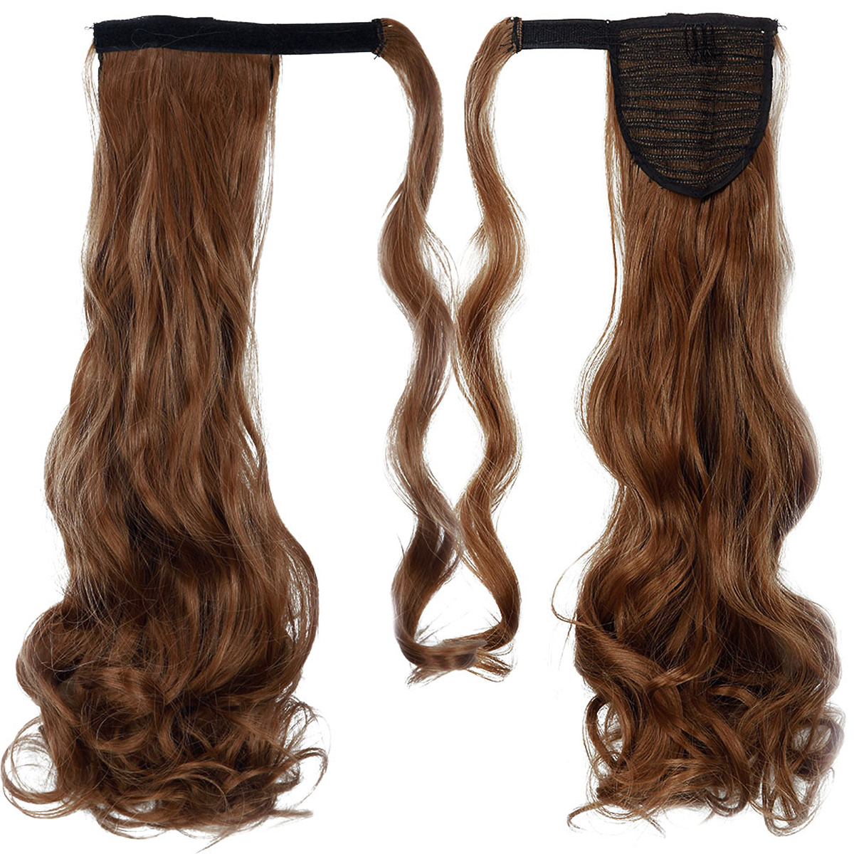 """FLORATA 18"""" Long Curly Velcro Wrap Around Ponytail Hair Extensions"""