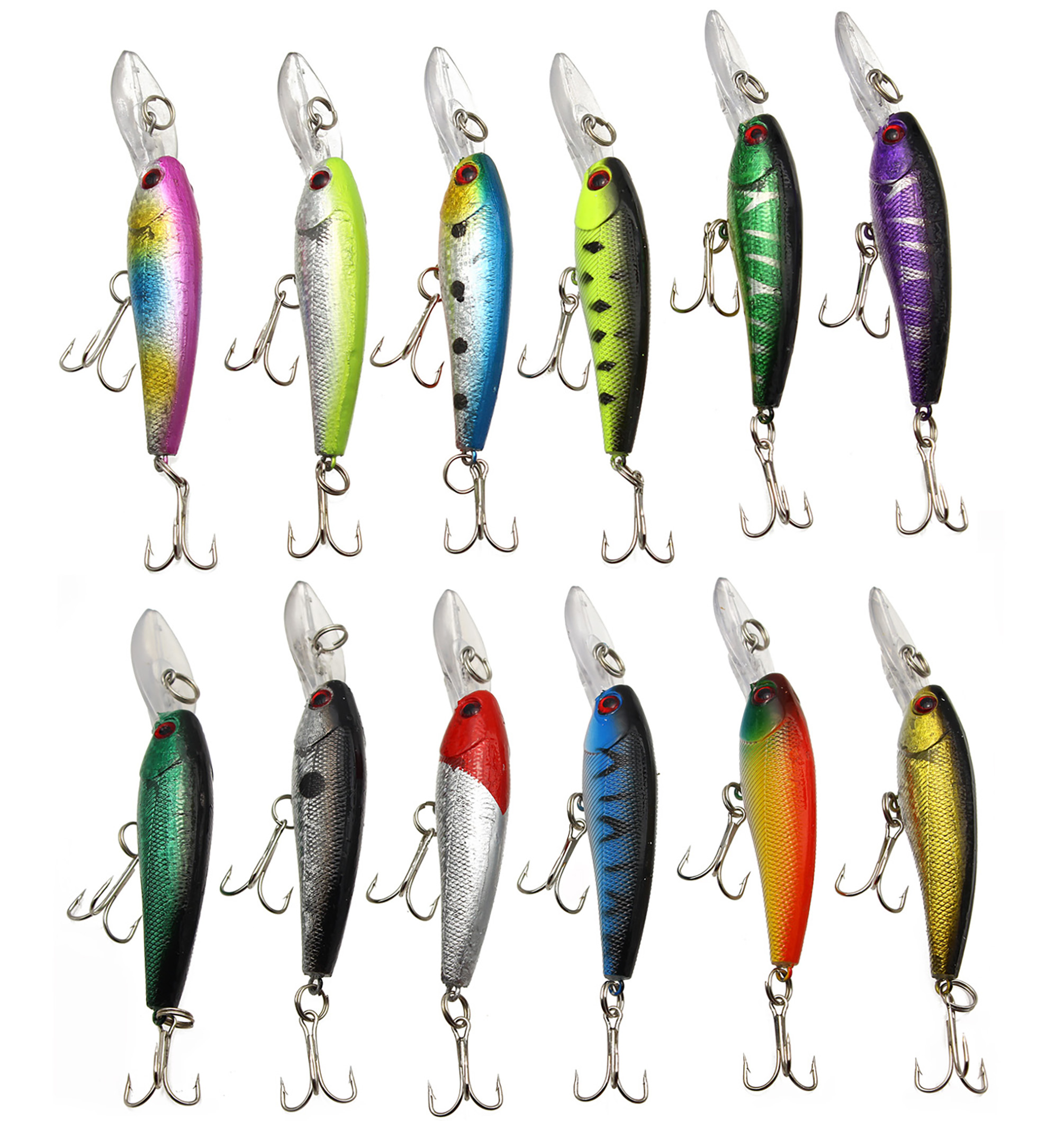 LotFancy 12 PCS 3.6 Inches Fishing Lures Crankbaits Hooks Minnow Baits Tackle by