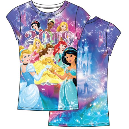 Disney Youth Girls 2019 Dated Princess Sublimated Top (No Namedrop) Large Multicolor Tee](Kids Back To School Clothes)