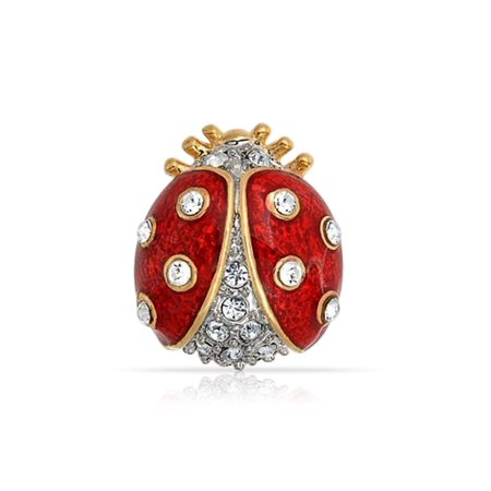 Lucky Ladybug Red Gold Plated Enamel Crystal Insect Lapel Push Pin For Women For Teen ()