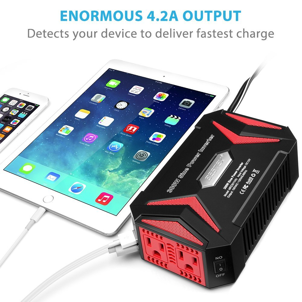 BESTEK 300W Car Power Inverter DC 12V to AC 110V Pure Sine Wave Car Inverter with 4.2A Dual Smart USB Ports Car Adapter