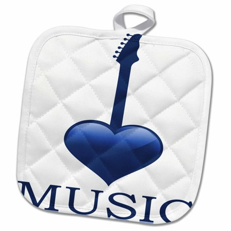 3dRose Blue Heart Shaped Guitar With The Word Music - Pot Holder, 8 by 8-inch ()