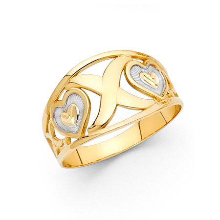 - 14k Two Tone Italian Solid Gold 11mm XOX Te Amo Love Band Hummered Ring Size 9.5 Available All Sizes