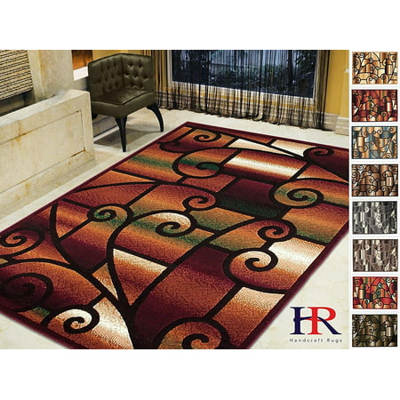 Handcraft Rugs-Modern Contemporary Living Room Rugs-Abstract Carpet with Geometric Swirls Pattern-Burgundy/ Beige/Ivory/Chocolate (2x 3 feet - Red Carpet Ropes