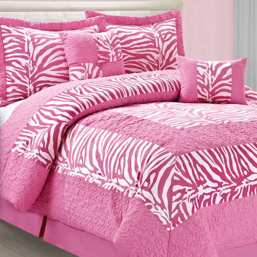 Serenta Safari Pink White Zebra 6 Piece Comforter Set