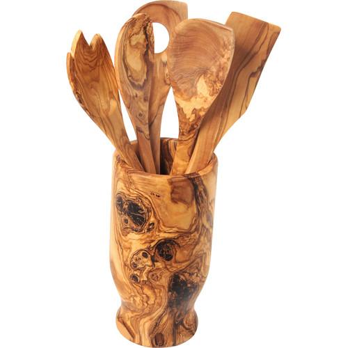 Beldi Nest Hand Carved Utensil Holder and 6 Piece Kitchen...