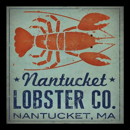 buyartforless IF WAP15012 12x12 1.5 Black Glass Framed Nantucket Lobster Company Nantucket Ma by Ryan Fowler 12X12 Signs Fish Seaside Seafood Animals Art Print
