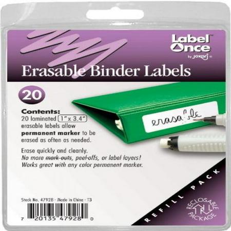 Binder Labels Templates - Jokari Label Once Erasable Binder Labels Refill Pack, 20-Count
