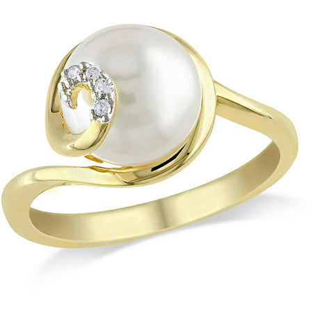 Miabella 9mm-9.5mm White Round Cultured Freshwater Pearl and Diamond-Accent Yellow Rhodium-Plated Sterling Silver Swirl Ring ()
