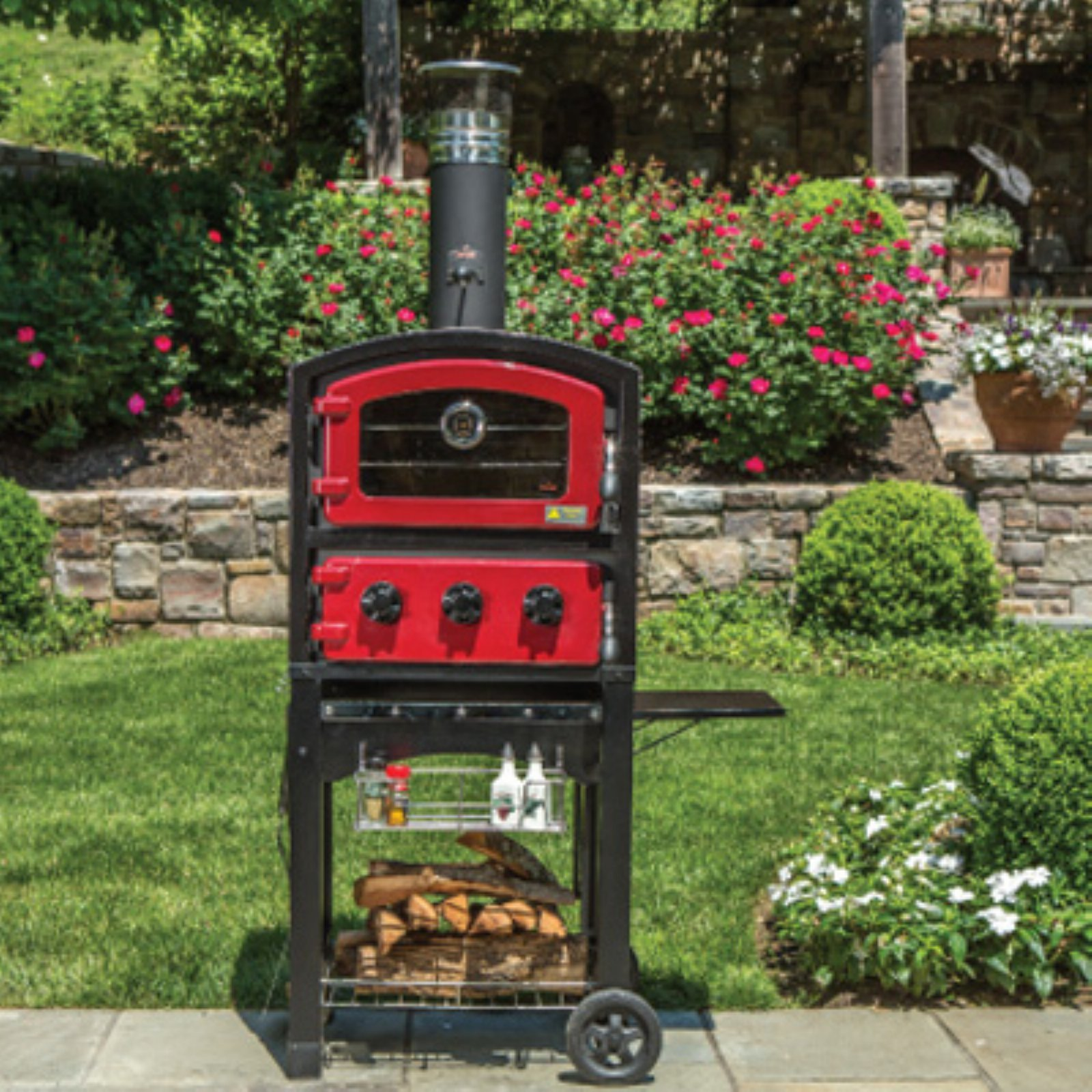 Fornetto Wood Fired Pizza Oven and Smoker Red by