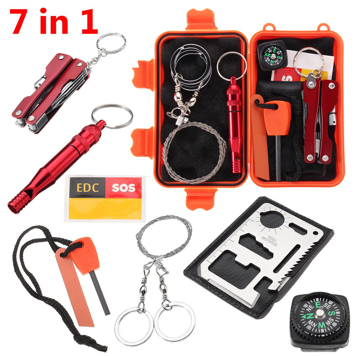 Outdoor Emergency Equipment Box Camping Survival Gear Whistle 11 in 1 SOS Kit