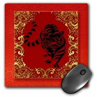 3dRose Chinese Zodiac Year of the Tiger Chinese New Year Red, Gold and Black , Mouse Pad, 8 by 8 inches