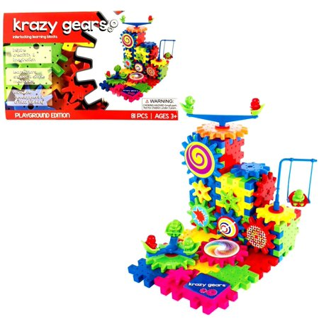 Krazy Gears Interlocking Learning Blocks with Motorized Spinning Gears Set - 81 Piece Playground Edition (KG-101) - Gear Toys