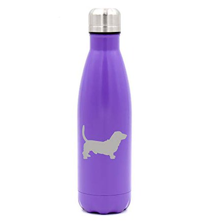 MIP Brand 17 oz. Double Wall Vacuum Insulated Stainless Steel Water Bottle Travel Mug Cup Basset Hound (Purple) Basset Hound Travel Mug