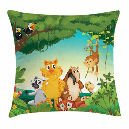 Zoo Throw Pillow Cushion Cover, Forest Scene with Different Animals Habitat Jungle Tropical Environment Kids Cartoon, Decorative Square Accent Pillow Case, 18 X 18 Inches, Multicolor, by (Different Kinds Of Animals And Their Habitats)