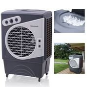 Honeywell CO60PM 1540 CFM 850 sq. ft. Indoor/Outdoor Portable Evaporative Air Cooler (Swamp Cooler) with Mechanical Controls, Gray/White ()