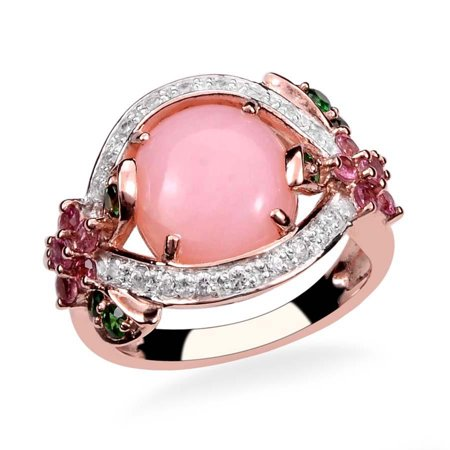 925 Sterling Silver Rose Gold Plated Oval Pink Opal Multi Gemstone Fashion Ring For Women