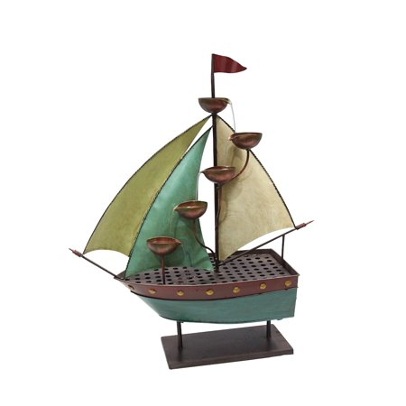 33 Inch Sailor Ship With 5 Leaf Cup Tier Floor Fountain