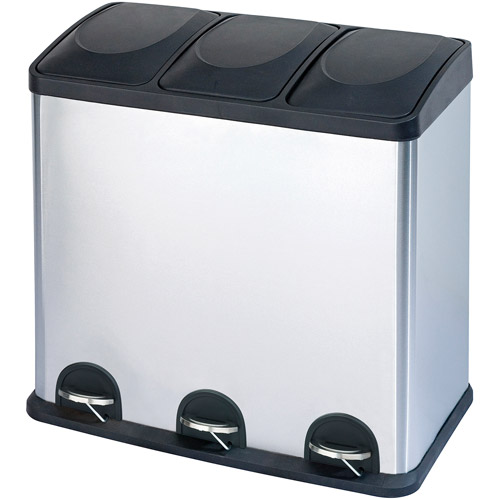 Step N' Sort 16-Gallon 3-Compartment Stainless Steel Trash and Recycling Bin