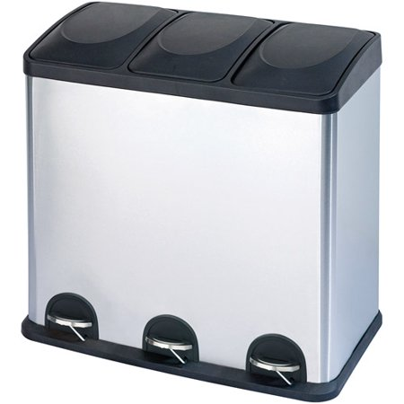 Step N\' Sort 16-Gallon 3-Compartment Stainless Steel Trash and Recycling Bin