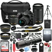Nikon D7500 4K Ultra HD DSLR Camera with AF-P DX 18-55mm f/3.5-5.6G VR and 70-300mm f/4.5-6.3G ED Dual Zoom Lens Kit + 500mm Preset f/8 Telephoto Lens + 0.43x Wide Angle, 2.2x Pro Bundle